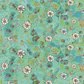 Fairytale - Turquoise - Fabric printed with small white flowers on a patterned background, mostly made up of bright shades of blue and green