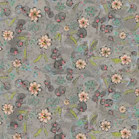Fairytale - Charcoal - Patterned fabric mostly in dark grey, but with some light green leaf type shapes and some pale pink coloured flowers