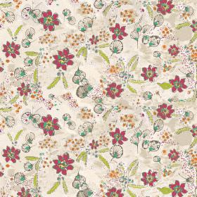 Fairytale - Ivory - Dark pink flowers with orange dots and shapes in grey and blue, printed with green leaves on beige coloured fabric