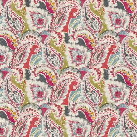 Aretha - Red - Linen and viscose fabric with an elegant red floral design