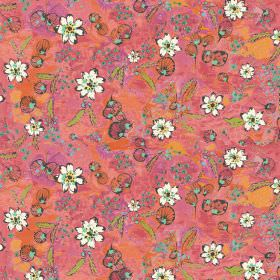 Fairytale - Coral - Bright pink, orange and light blue colours patterned together to form a fabric background for small white flowers