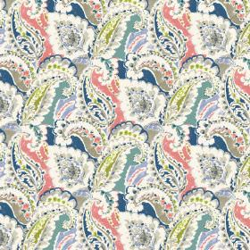 Aretha - Coral - Coral linen and viscose fabric decorated with blue and white floral pattern