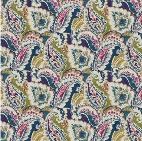 Aretha - Navy - Navy blue linen and viscose fabric with a colorful pattern