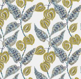 Mulberry - Blue - Interesting blue leaf pattern on linen and viscose fabric