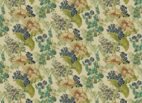 Babbling Brook - Blue - Flowers and leaves on plain fabric, all in different shades of blue, green and beige