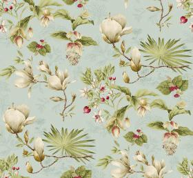 Kismet - Blue - Plenty of light green leaves printed with a few off-white coloured flowers on fabric in a very pale blue colour
