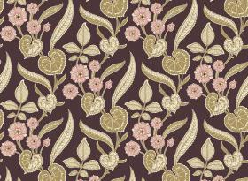 Nouveau - Aubergine - Small pink flowers printed with various olive green coloured leaves on a background of dark purple fabric