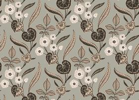 Nouveau - Charcoal - Floral and leaf print fabric in several different shades of grey, beige and cream