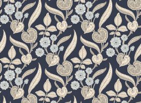 Nouveau - Navy - Navy blue fabric printed with blue, grey and cream coloured flowers and leaves in a variety of styles