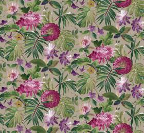 Tropicana - Shingle - Light grey fabric printed with lots of dark green leaves and large flowers in bright purple and deep pink