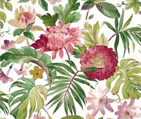 Tropicana - White - Pink-red flowers printed alongside large green leaves on a bright white fabric background