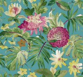 Tropicana - Turquoise - Turquoise coloured fabric as a background for large, dark pink coloured flowers and lots of large, green leaves