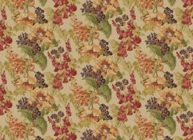 Babbling Brook - Red - Beige fabric patterned with orange, dark red, dark purple and green flowers and leaves in a repeated design
