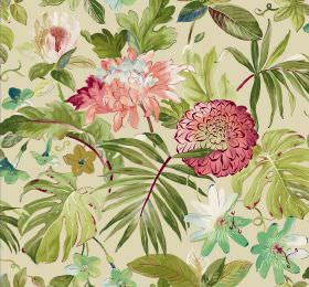Tropicana - Cream - Large green leaves found in hot climates with a couple of dark pink flowers on fabric in a light cream-beige colour