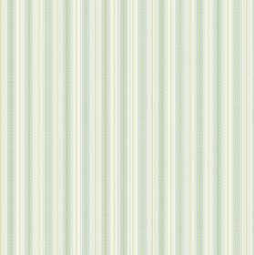Nina - Blue - White, pale yellow and light green-grey stripes printed in a regular pattern on fabric