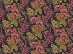 Babbling Brook - Black - Very dark grey coloured fabric, patterned repeatedly with flowers and leaves in dusky shades of green and pink
