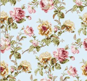 Constance - Aqua - Gold and dusky pink coloured floral print fabric, with green leaves and a pale blue background
