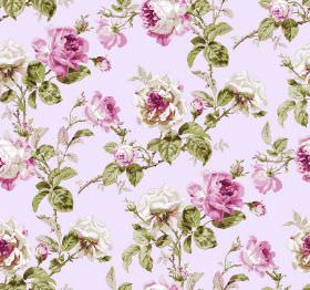 Constance - Pink - Fabric covered in a pink-purple and green floral design on a background of white with a very slight pink tinge