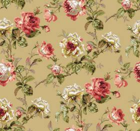 Constance - Gold - Floral print fabric featuring a yellow, grey, dusky red and green design on a caramel coloured background