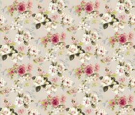 Evelyn - Stone Pink - Fabric with flowers, leaves and a plain background in shades of beige, cream, dark pink and green