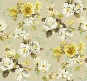 Evelyn - Buttercup - Beige coloured fabric patterned with yellow, white and grey flowers and leaves in various shades of green