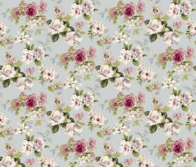 Evelyn - Pale Blue - Fabric in light blue, with a repeated floral pattern inwhite, fuschia and green colours