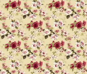 Evelyn - Rich Cream - Floral print fabric with a repeated red, white and green design on a light yellow background