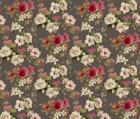 Evelyn - Charcoal - Red, cream and green making up the repeated floral print design for this dark grey coloured fabric