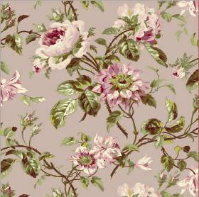 Grand Rose - Liliac - Fabric in a light pink-grey colour with a floral design in different shades of pink and cream and realistic green leav