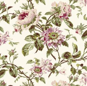 Grand Rose - Cream - Realistic green leaves printed with flowers in different shades of pink on fabric in white