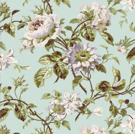 Grand Rose - Sky - A floral design in grey and white with green leaves on a light blue fabric background
