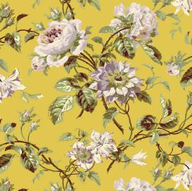 Grand Rose - Saffron - Citrus coloured fabric patterned with realistic green leaves and grey and cream coloured flowers