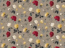 Juliet - Mink - A background of brown fabric for dark grey leaves and flowers in white, yellow and deep crimson