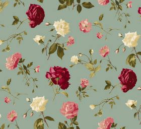 Juliet - Duck Egg - Individual roses in deep red, light pink and cream printed with green leaves on a light teal-grey fabric background