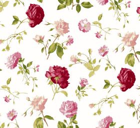 Juliet - White - White fabric scattered with individual roses and leaves in green and different shades of pink