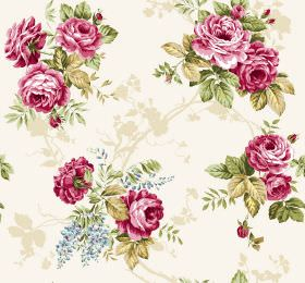 Katherine - Red - Subtly patterned cream fabric with bunches of dark pink flowers and green leaves printed on top