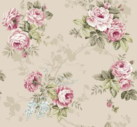 Katherine - Beige - Arrangements of light pink flowers with light green leaves against a beige fabric background which is subtly patterned