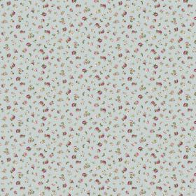 Petite Evelyn - Powder - Miniscule dark and light grey flowers printed in a scattered pattern on a light blue fabric background