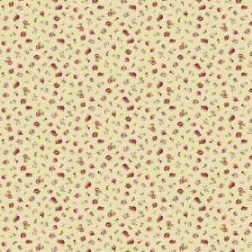 Petite Evelyn - Rich Cream - Fabric with a tiny dark pink, light pink and green floral pattern on a light yellow background