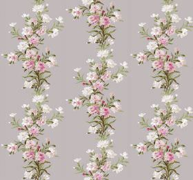 Carnation - Taupe - Rows of pink and white flowers with green leaves running down light grey coloured fabric