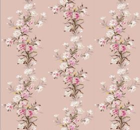 Carnation - Petal - Pink and white flowers with grey-brown leaves arranged in vertical rows on fabric in a light pink colour