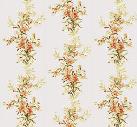Carnation - Cream - Plain white fabric patterned with vertical rows of flowers and leaves in yellow, orange and green shades