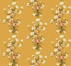 Carnation - Sunset - Fabric in pumpkin orange, with green leaves and flowers in white and orange-pink arranged in vertical rows