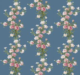 Carnation - Cobalt - Pink and cream coloured flowers arranged in vertical rows with green leaves on a plain blue fabric background
