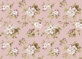 Agatha - Coral - Light, dusky pink fabric printed with white and purple flowers which are connected by green-gold leaves and vines