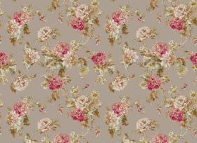 Nancy - Pebble - Grey fabric covered in a repeated floral pattern with flowers and leaves in dusky shades of pink and green