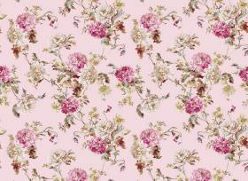 Nancy - Pink - Pink and grey flowers printed repeatedly on a fabric background in a lighter shade of pink