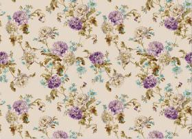 Nancy - Lavender - Small purple, blue and grey flowers with olive green coloured leaves on fabric in a beige colour