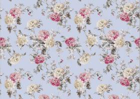 Nancy - Powder - Fabric with a small, repeated floral print in pastel shades of pink, blue, off-white and grey