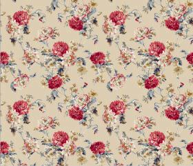 Nancy - Red - Cream coloured fabric printed with blue leaves and red and pink flowers in a repeated pattern